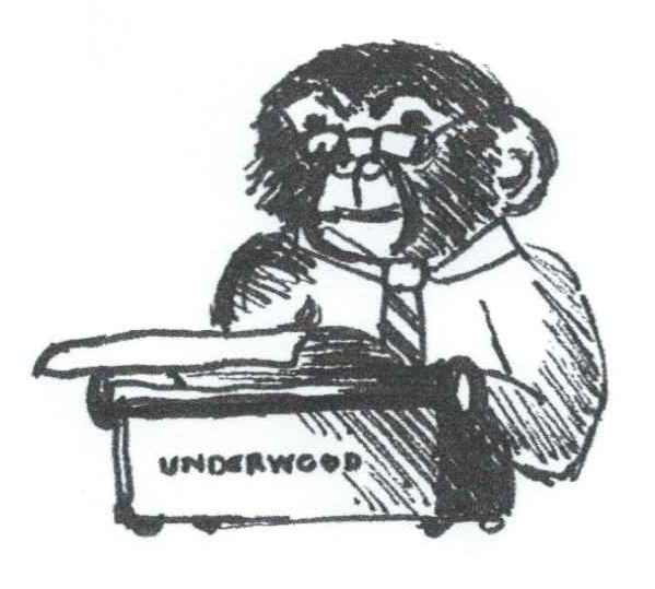 A monkey with a typewriter